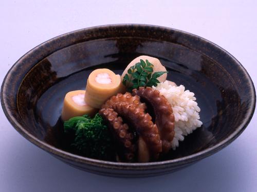 筍奉書巻、里芋、飯蛸、菜花