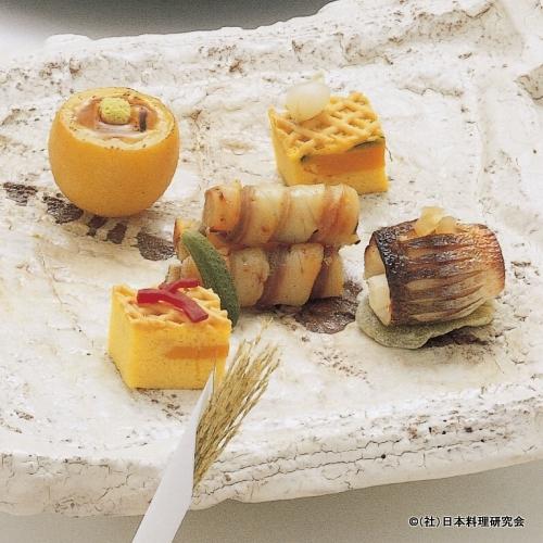 まな鰹西京焼、揚生姜、魳柚香焼、南瓜糸掛け焼、柚子釜利久焼