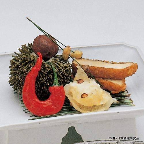 毬あげ、蛸煎餅、栗渋皮煮、松茸香煎餅