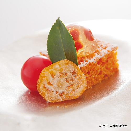 フルーツトマトの蒸しパン トマトゼリー・金柑糖
