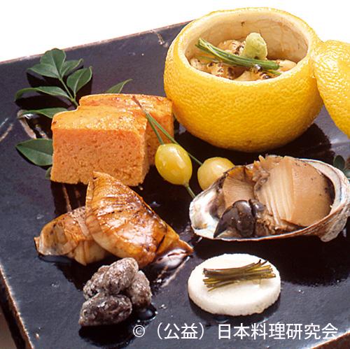 柚子釜焼、人参かすてら、銀杏松葉打、鰤大根包み焼、鮑旨煮