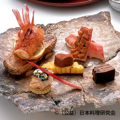 喜知次柚庵焼、尼鯛青菜焼、鱈場蟹雲丹焼、大山豆腐味噌漬