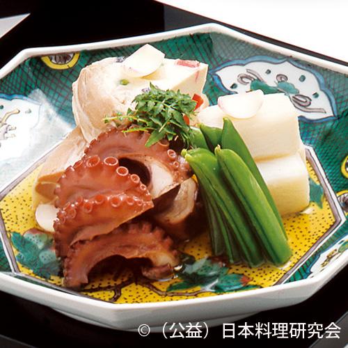 車麩友禅豆腐、飯蛸、長芋含ませ、スナップ豌豆