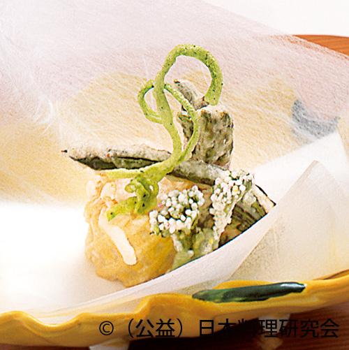 蓮根穴子、アスパラ馬鈴薯、こごみ挟み雲丹、楤の芽白扇、蓬麩