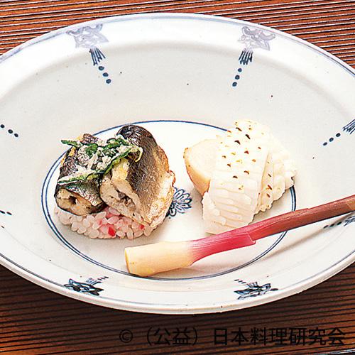 鮎米子漬、赤梅リゾット、帆立貝・烏賊五杯漬