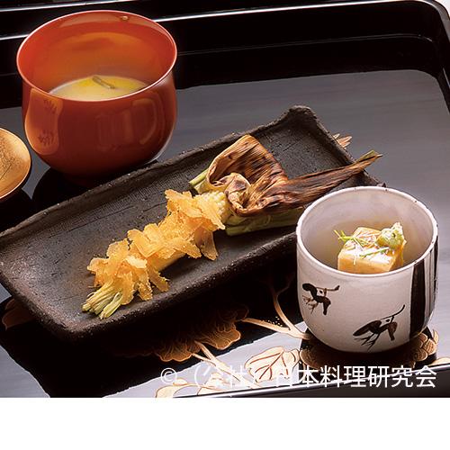 玉蜀黍擂流し、玉蜀黍麩、ヤングコーン炭焼唐墨掛け