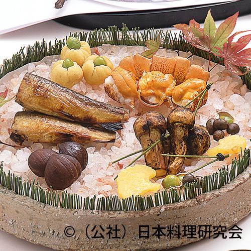伊勢海老雲丹焼、子持鮎幽庵焼、焼松茸、栗茶巾銀杏