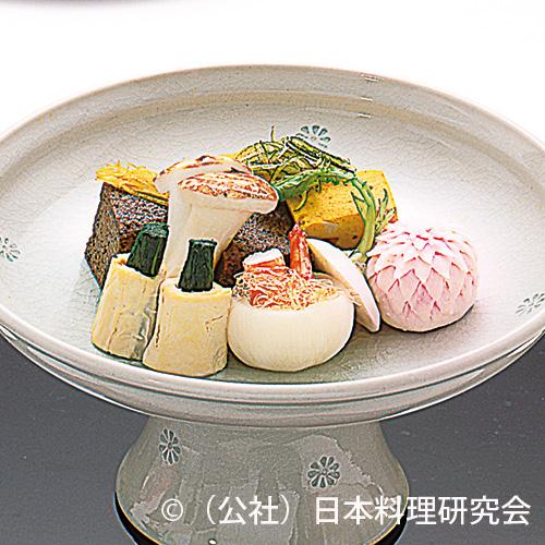 彩り賽の目南瓜、松茸擬豆腐、百合根菊花、秋菜東寺巻、蕪釜巻海老