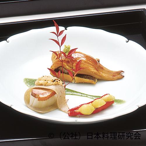 合鴨ロースト蕎麦がき風、穴子海老芋包み焼
