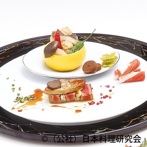 魴・鮟鱇肝柚子釜焼、大黒占地、和牛ヒレ肉和風ロッシーニ、銀杏濡れ煎餅