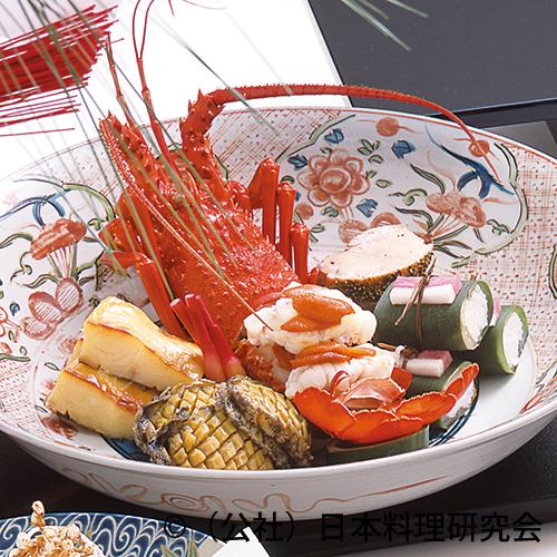 伊勢海老雲丹焼、松笠床節磯焼、合鴨粒胡椒焼、子鯛笹寿司