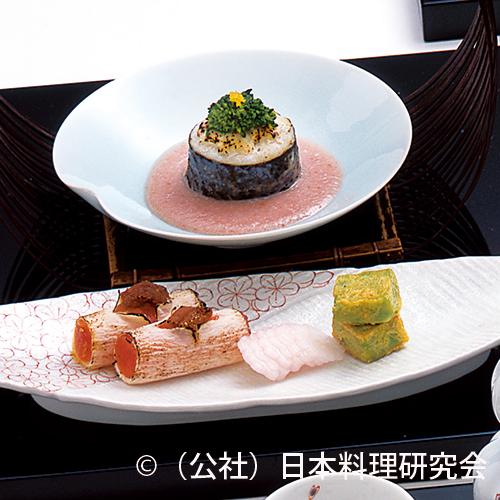 鰆菜種焼、雲丹・鼈甲玉子奉書焼